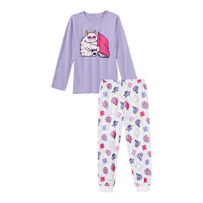 Mädchen-Schlafanzug mit Monstermotiv, 2-teilig