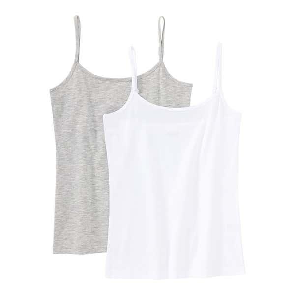 Mädchen-Unterhemd in Melange-Optik, 2er Pack