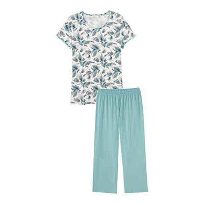 Damen-Schlafanzug mit Blumen-Design, 2-teilig