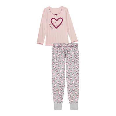 Damen-Schlafanzug mit Herzmuster, 2-teilig