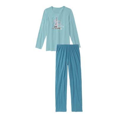 Damen-Schlafanzug mit Eiffelturm-Aufdruck, 2-teilig