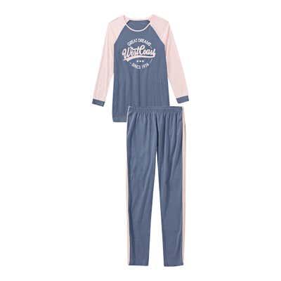 Damen-Schlafanzug mit Kontrast-Ärmeln, 2-teilig