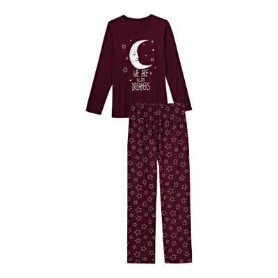 Damen-Schlafanzug mit Mond-Aufdruck, 2-teilig