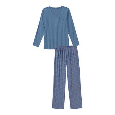 Damen-Schlafanzug mit kleinen Rauten, 2-teilig