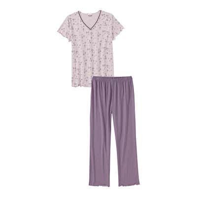 Damen-Schlafanzug mit Blümchen-Muster, 2-teilig