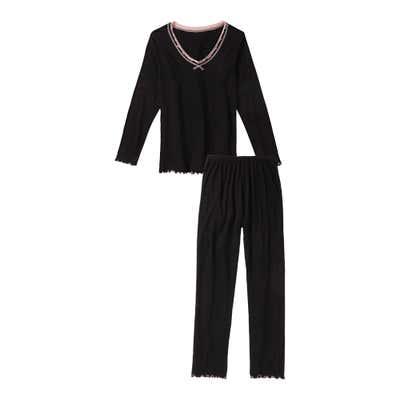 Damen-Schlafanzug verziertem Ausschnitt, 2-teilig