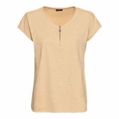 Damen-T-Shirt mit dekorativen Reißverschluss