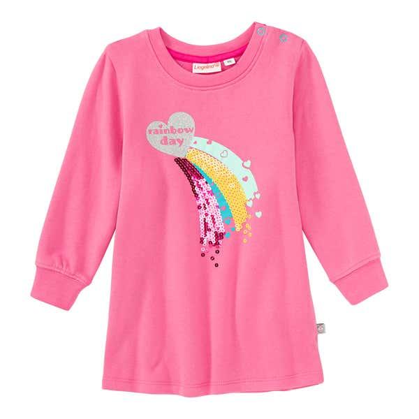 Baby-Mädchen-Sweatkleid mit Regenbogen-Herz