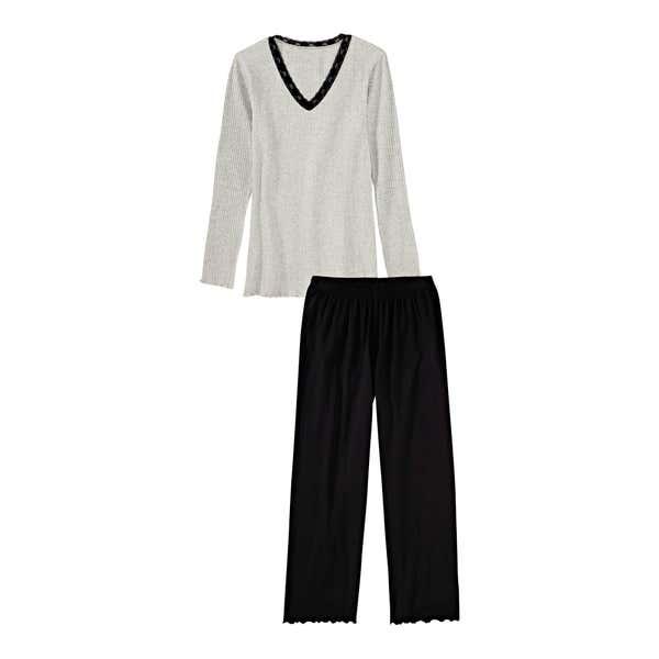 Damen-Schlafanzug mit Ripp-Muster, 2-teilig