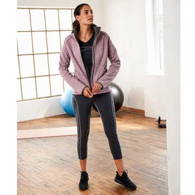 Damen-Fitnesshose in angesagter Melange-Optik