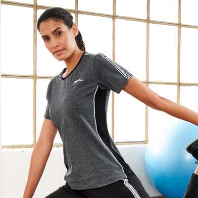 Damen-T-Shirt mit kontrastfarbenen Seiteneinsätzen