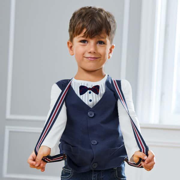 Kinder-Jungen-Shirt-Set mit Weste, 2-teilig