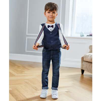 Kinder-Jungen-Jeans mit Hosenträgern