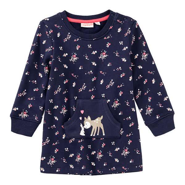 Baby-Mädchen-Sweatkleid mit Blümchen-Muster