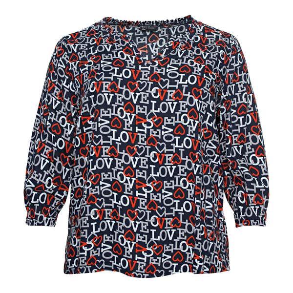 Damen-Bluse mit Herzen, große Größen