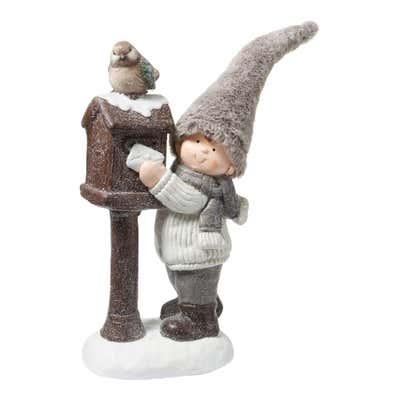 Dekofigur mit Hut aus Kunstfell, ca. 23x17x38cm