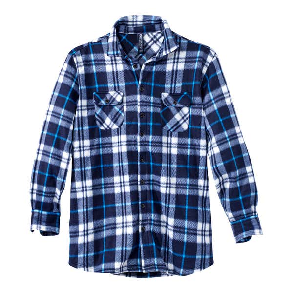 Herren-Fleecehemd mit aufgesetzten Brust-Pattentaschen, große Größen