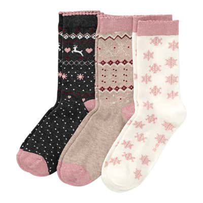 Damen-Socken mit Norweger-Muster, 3er Pack