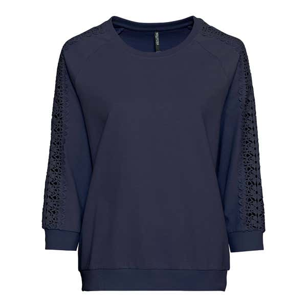 Damen-Sweatshirt mit Spitzenbesatz