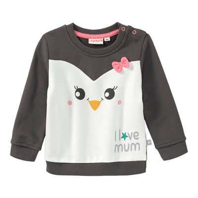 Baby-Mädchen-Sweatshirt mit Pinguin-Gesicht