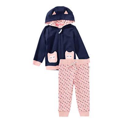 Baby-Mädchen-Sweatjacke mit Eulen-Taschen