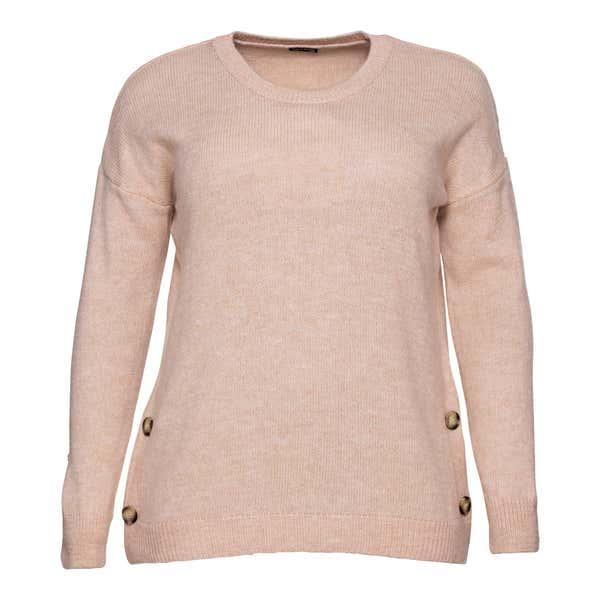 Damen-Pullover mit Zierknöpfen, große Größen