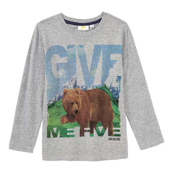 Jungen-Shirt mit Bären-Frontaufdruck