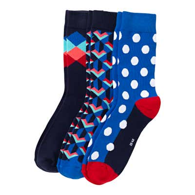 Unisex-Socken mit Muster, 3er Pack