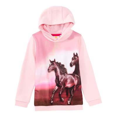 Mädchen-Kapuzenpullover mit Pferde-Druck