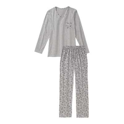 Damen-Schlafanzug in Melange-Optik, 2-teilig