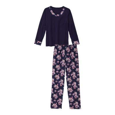 Damen-Schlafanzug mit Blumenmuster, 2-teilig