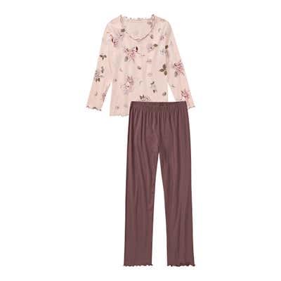 Damen-Schlafanzug mit gewelltemKragen, 2-teilig