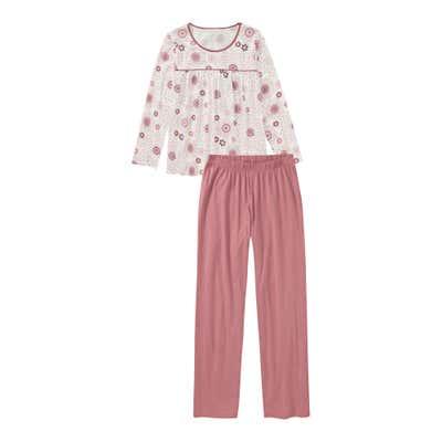Damen-Schlafanzug mit Blumendesign, 2-teilig