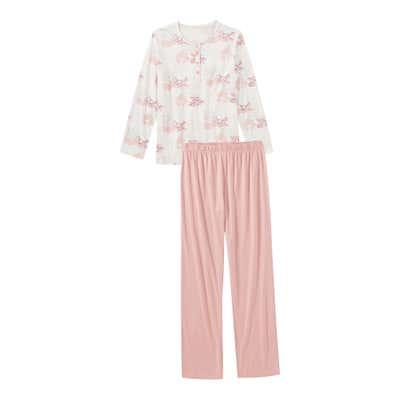 Damen-Schlafanzug mit Knopfleiste, 2-teilig
