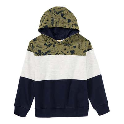 Jungen-Kapuzen-Pullover mit Blockstreifen