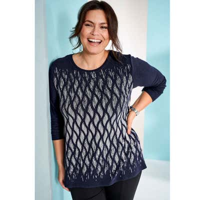 Damen-Sweatshirt mit faszinierendem Muster, große Größen