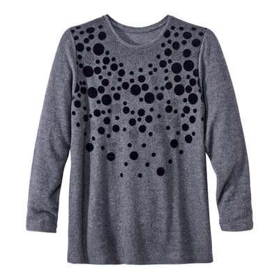 Damen-Sweatshirt mit trendigem Flock-Druck, große Größen