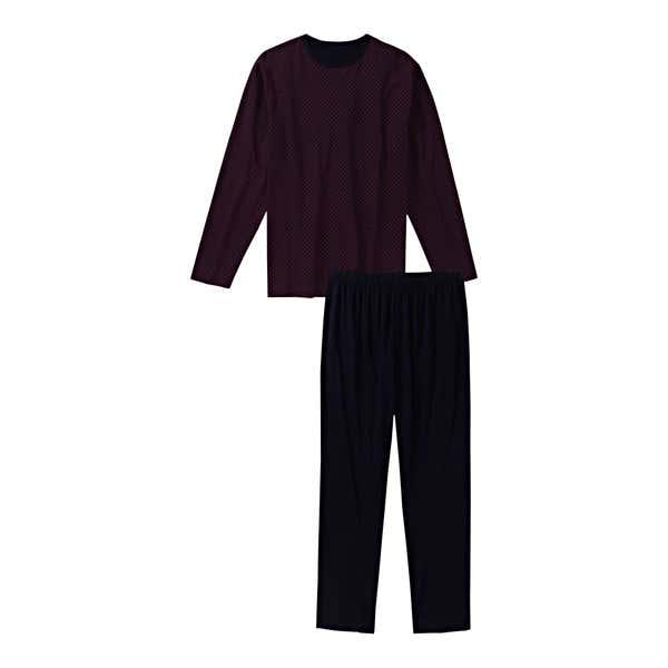 Herren-Schlafanzug aus reiner Baumwolle, 2-teilig