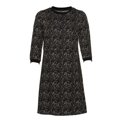 Damen-Jacquard-Kleid mit Ripp-Bündchen