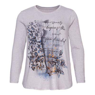 Damen-Sweatshirt mit Glitzersteinchen, große Größen