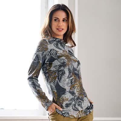 Damen-Pullover mit kleinem Stehkragen