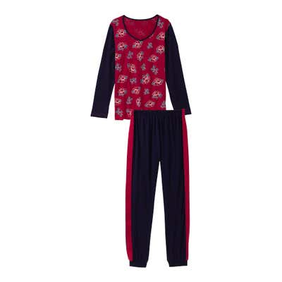 Damen-Schlafanzug mit Kontrast-Streifen, 2-teilig
