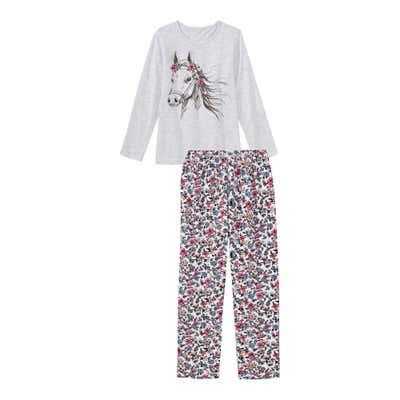 Mädchen-Schlafanzug mit Pferde-Aufdruck, 2-teilig