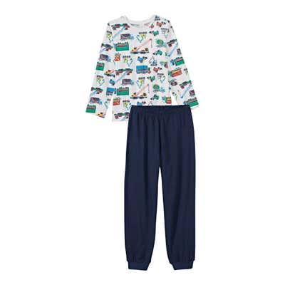 Jungen-Schlafanzug mit Baustellen-Fahrzeugen, 2-teilig
