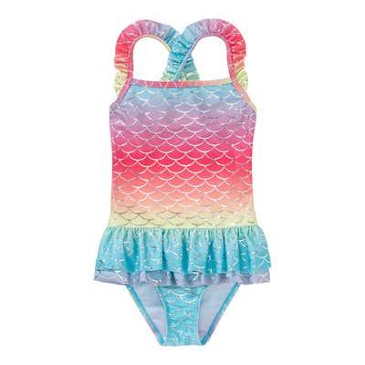 Mädchen-Badeanzug in Regenbogen-Look