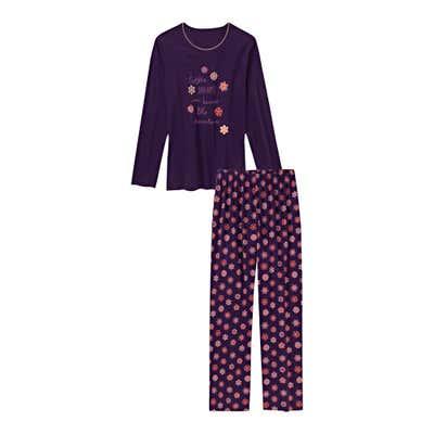 Damen-Schlafanzug mit Frontaufdruck, 2-teilig