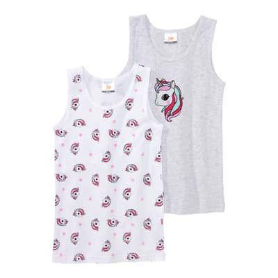 Mädchen-Unterhemd mit Einhorn-Muster, 2er Pack