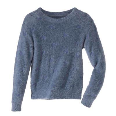 Damen-Pullover mit geprägtem Herz-Muster