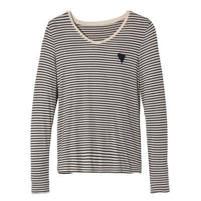 Damen-Shirt mit glitzerndem Ringelmuster