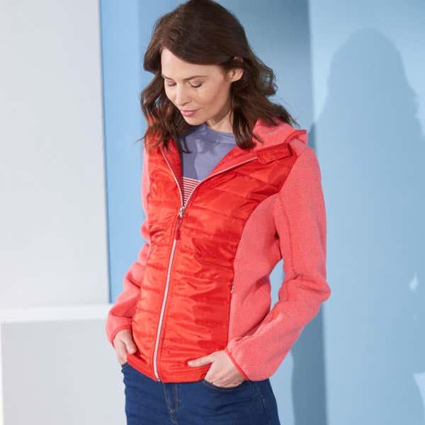 Damen-Strickfleece-Jacke mit Stepp-Einsätzen